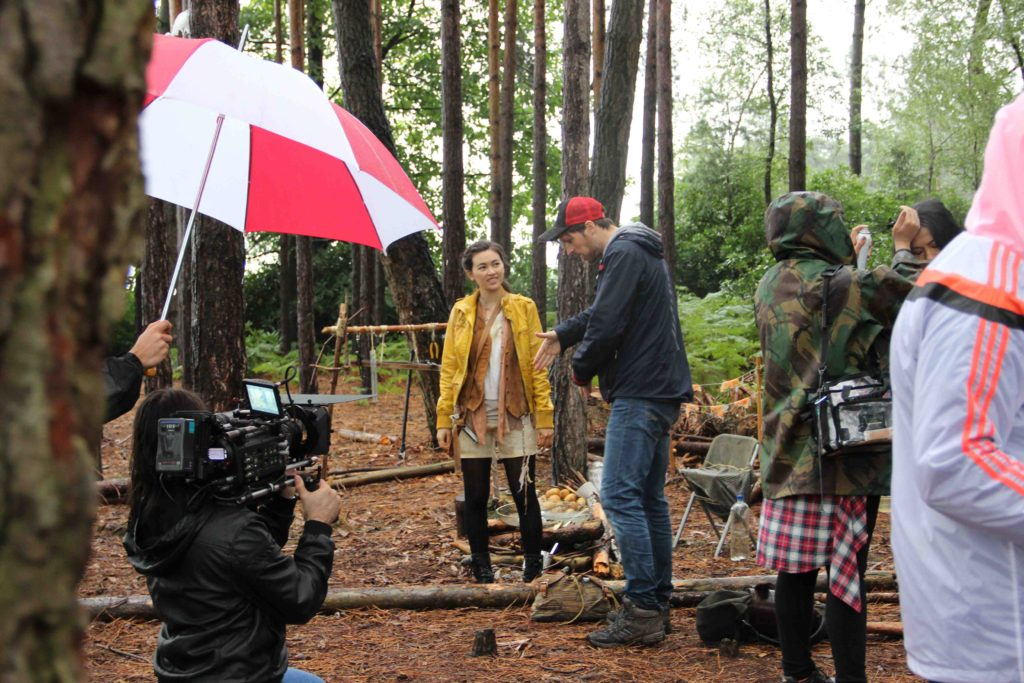 On set of The Heart  of the Forest with director Giles Alderson & Jessica Henwick