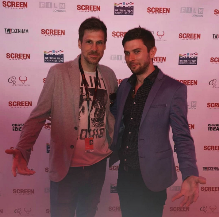Giles Alderson & Dom Lenoir at The Screen International UK Party in Cannes